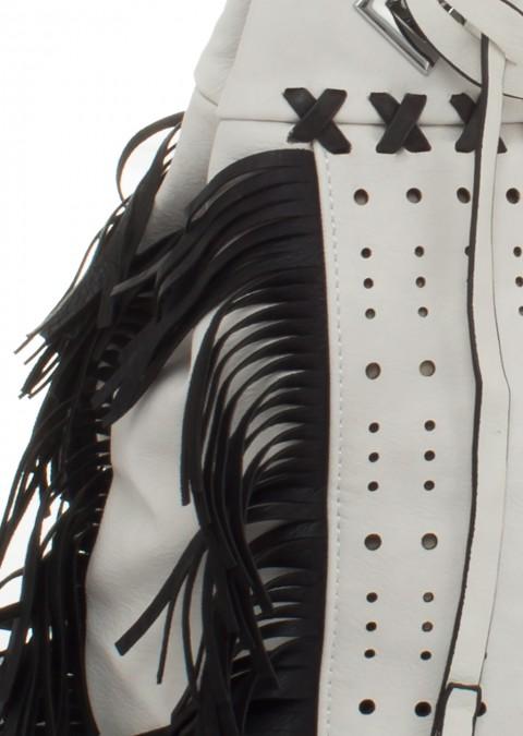 70475bbf233e3 Italy torebka worek frędzle łańcuch biało-czarna Torebka worek frędzle  łańcuch biało-czarna