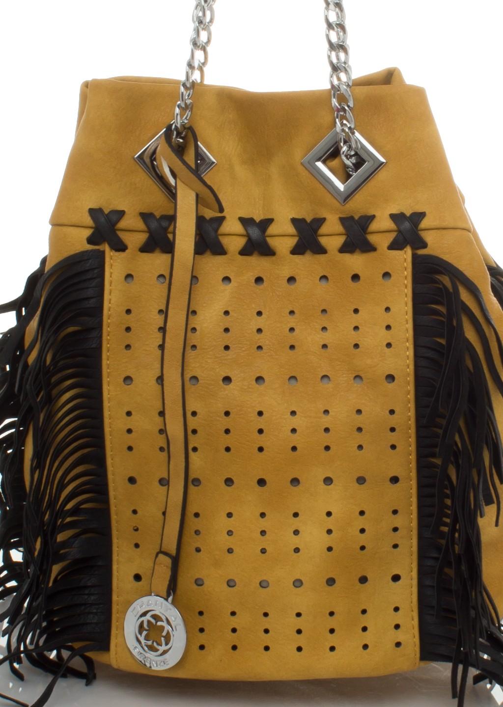 f7b375ad7642b Italy torebka worek frędzle łańcuch musztardowo-czarna - Lagattini