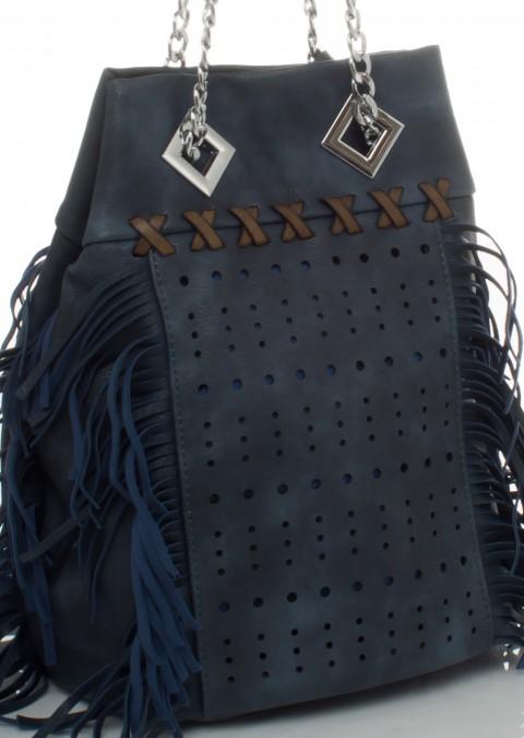 190c168473d0a Italy torebka worek frędzle łańcuch granatowa
