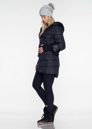 Włoski pikowany płaszczyk PREMIUM taliowany czarny