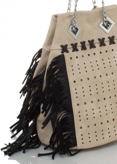 f1cf4cbc672c4 Italy torebka worek frędzle łańcuch beżowo-czarna Torebka worek frędzle  łańcuch beżowo-czarna