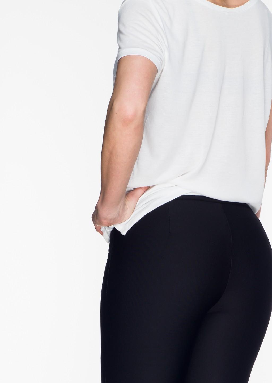 Włoskie legginsy GRUBA DZIANINA zdobiona nogawka