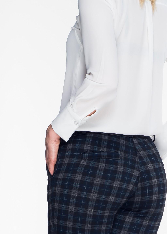 Włoskie eleganckie spodnie w kratę Office/Business Line grafitowy