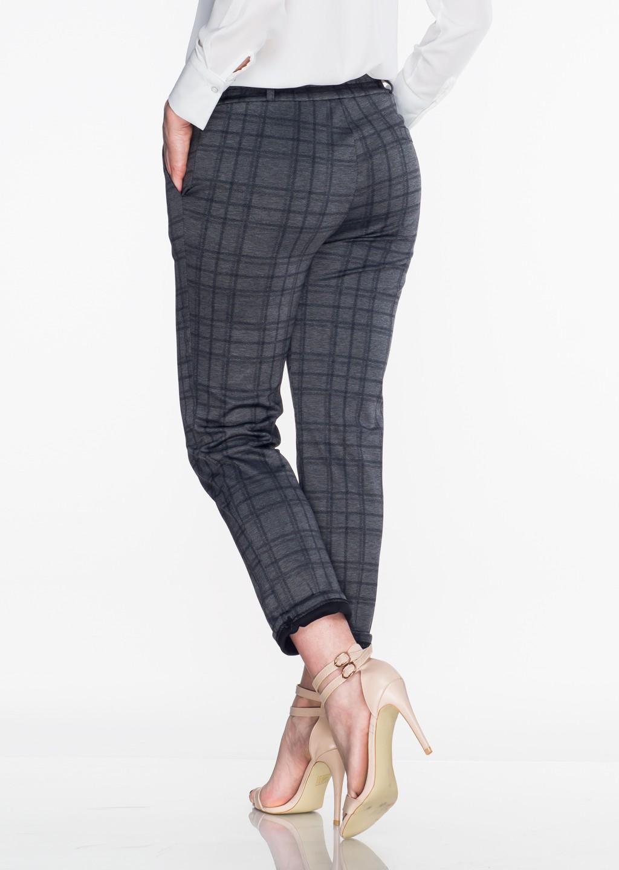 Włoskie eleganckie spodnie w kratę Office/Business Line szare