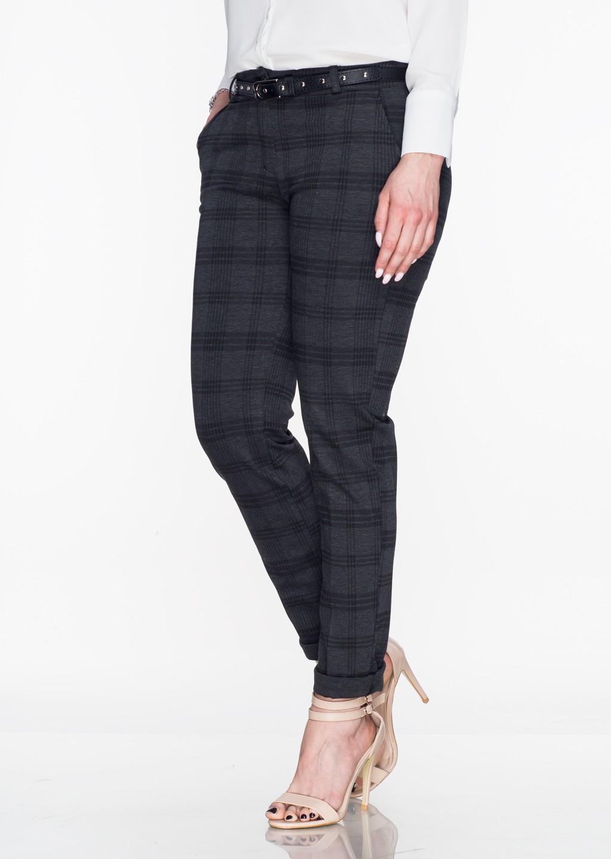 Włoskie eleganckie w kratę spodnie Office/Business Line szare