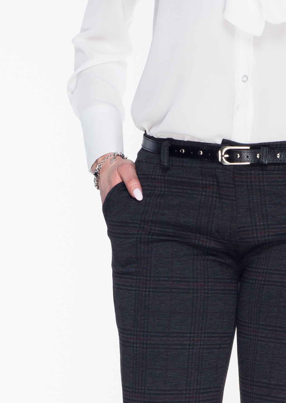 Włoskie eleganckie w kratę spodnie Office/Business Line szary/czerwień