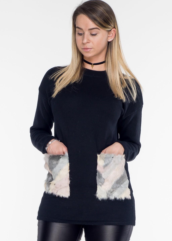 sweterek fur kieszenie