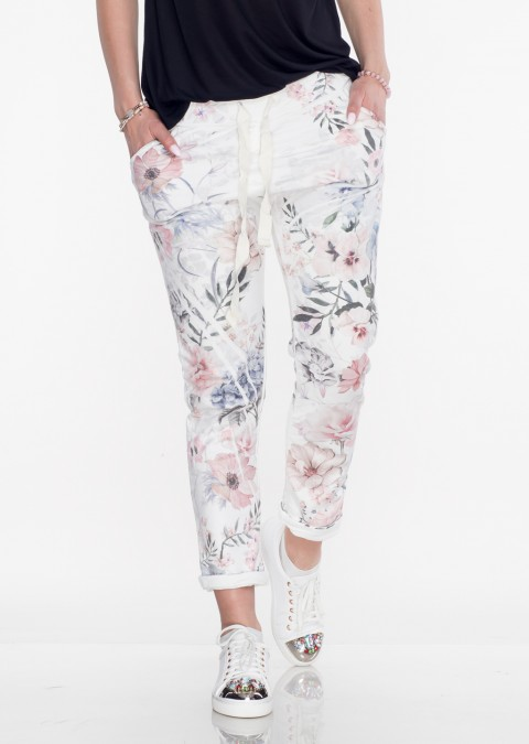 Włoskie spodnie dresowe FLOWERS 2 wielokolorowe
