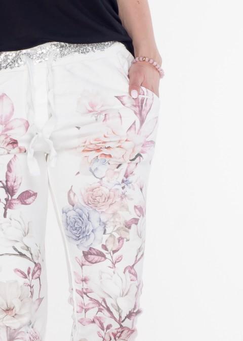 Włoskie spodnie dresowe FLOWERS bordowe