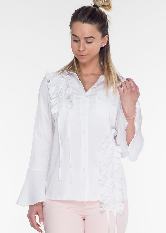 Włoska koszula zdobienia PERŁY biały Lagattini  UEGv7