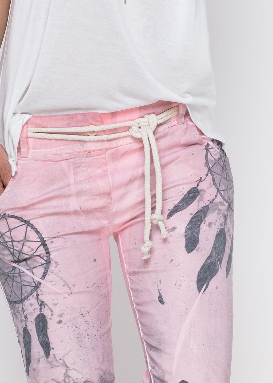 Włoskie spodnie boho odcienie różu
