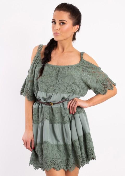 Włoska sukienka JULIETTE 2 pastelowy khaki