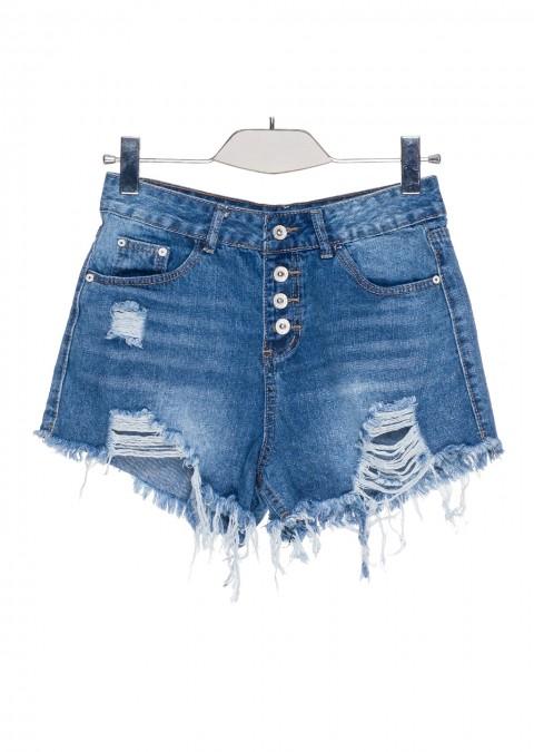 Włoskie jeansowe szorty high waist guziki