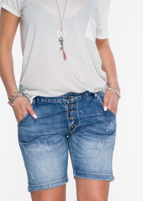 Włoskie szorty jeansowe guziki przeszycia