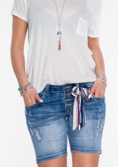 Włoskie szorty jeansowe BERGAMO guziki lampas