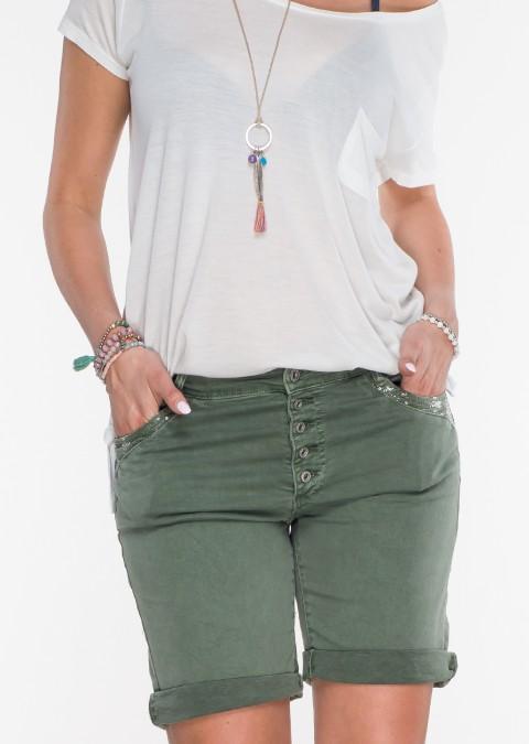 Jeansowe szorty zdobione kieszonki khaki