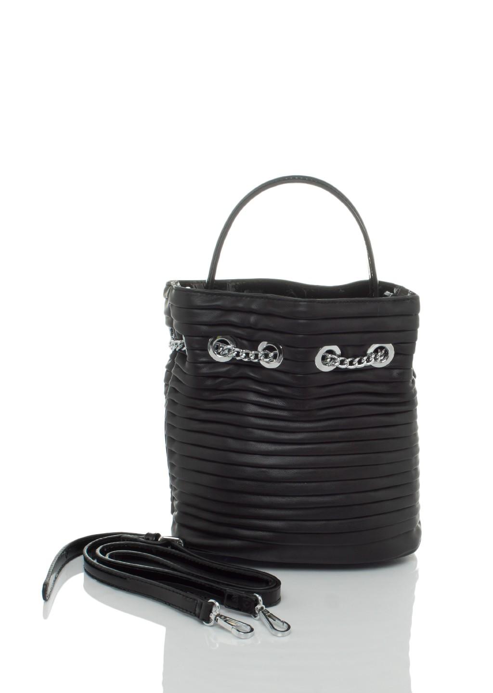 c3ce0c8a2242d Italy torebka worek pikowana czarna mała - Lagattini