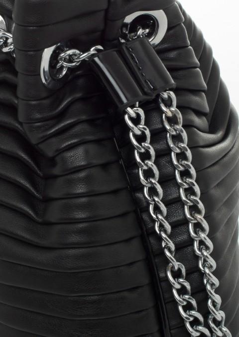2e54a193cda8b Italy torebka worek pikowana czarna mała