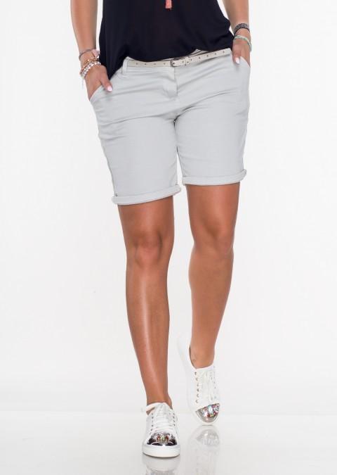 Włoskie szorty CARINI khaki + pasek