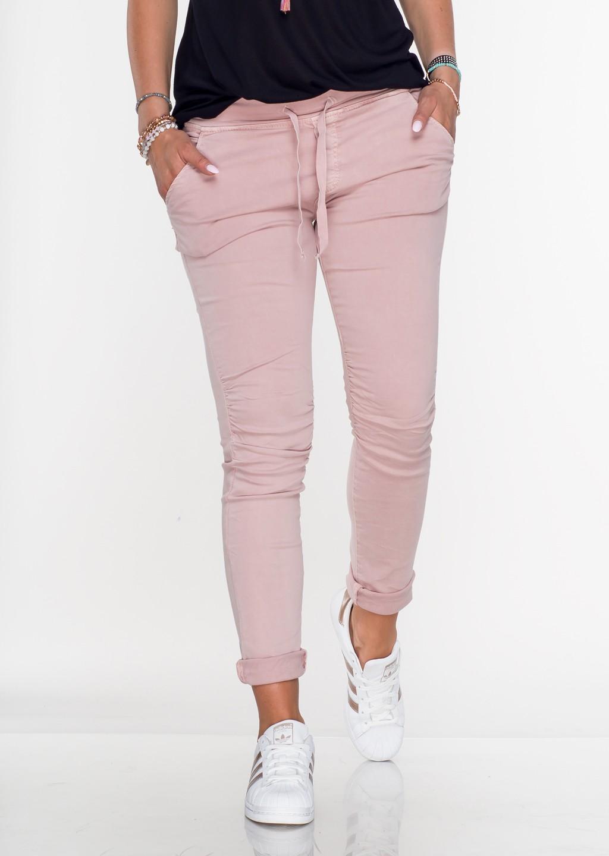 Włoskie spodnie dresowe jeans MILANO pudrowy róż