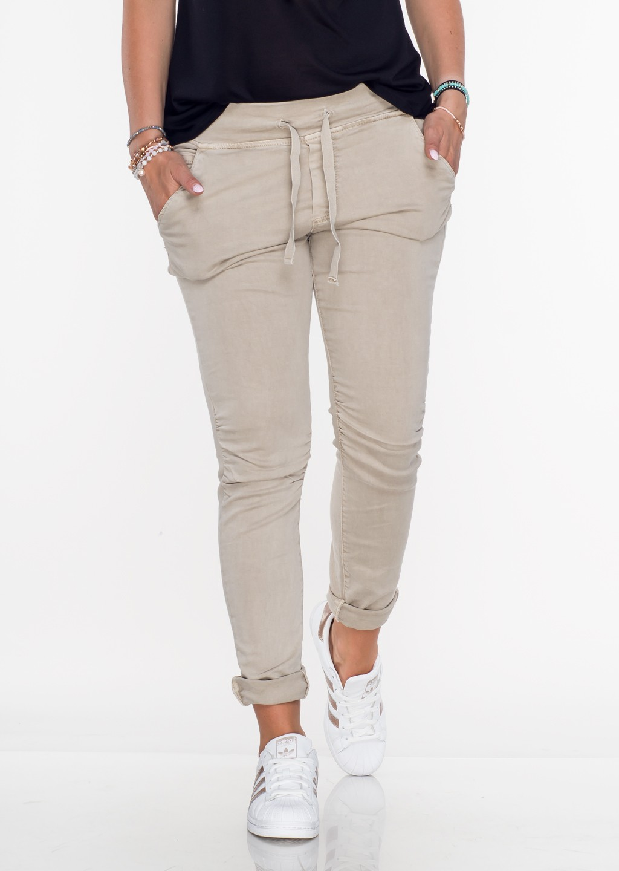 Włoskie spodnie dresowe jeans MILANO beżowe