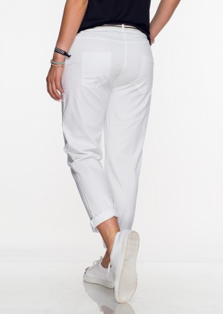 Włoskie spodnie CAPRI + pasek białe