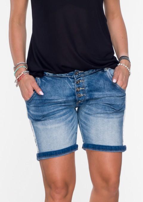 Włoskie szorty GUZIKI lampas przecierany jeans