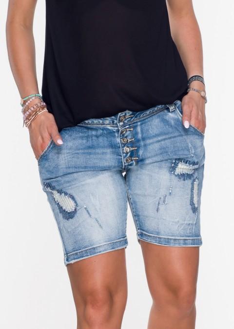 Włoskie szorty GUZIKI zdobienia push up przecierany jeans