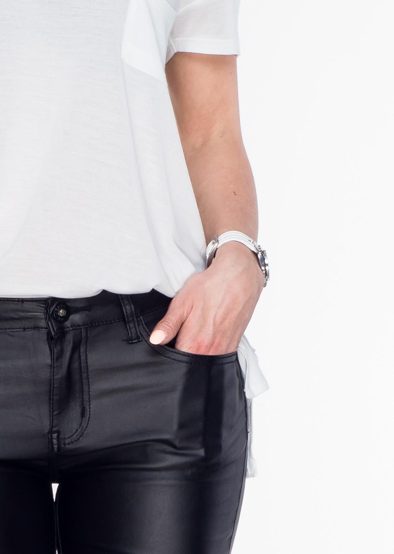 Włoskie spodnie RURKI woskowane