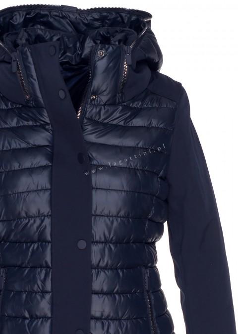 Włoska pikowana kurtka z kapturem granatowa