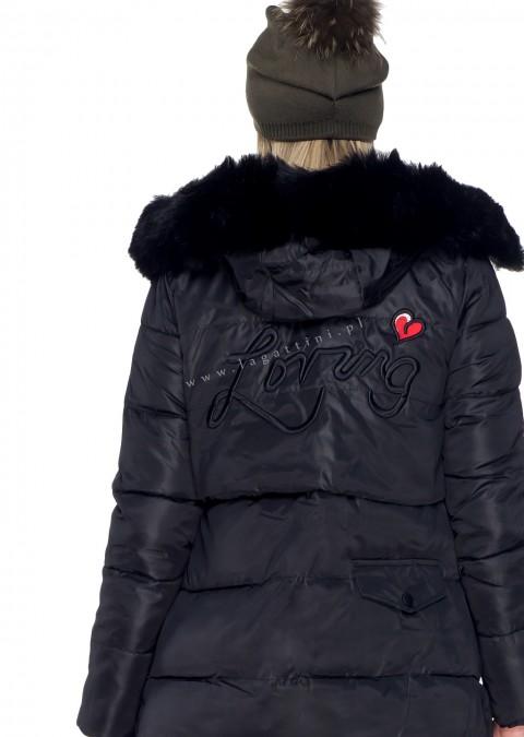 Włoski płaszcz LIMITED LOVE czarny