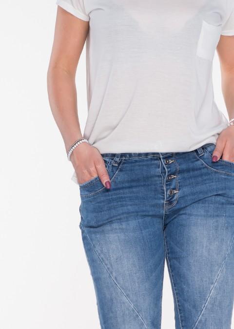 Włoskie jeansy GUZIKI PUSH UP blue jeans 1e1015fc39