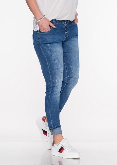 Włoskie jeansy GUZIKI PRZESZYCIA blue jeans ac88076c99