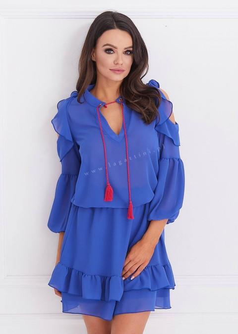 Sukienka COCOMORE falbany chabrowa