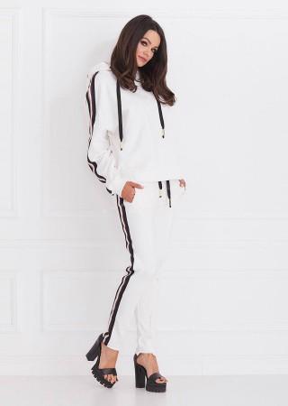 Spodnie dresowe COCO efektowny lampas ecru