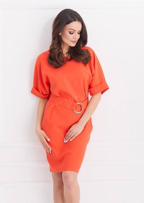 Sukienka COCOMORE efektowne zapięcie odcienie czerwonego