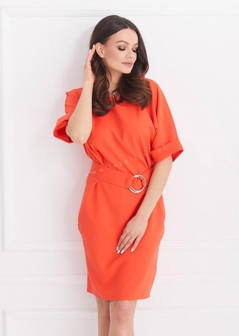 Sukienka COCO efektowne zapięcie odcienie czerwonego