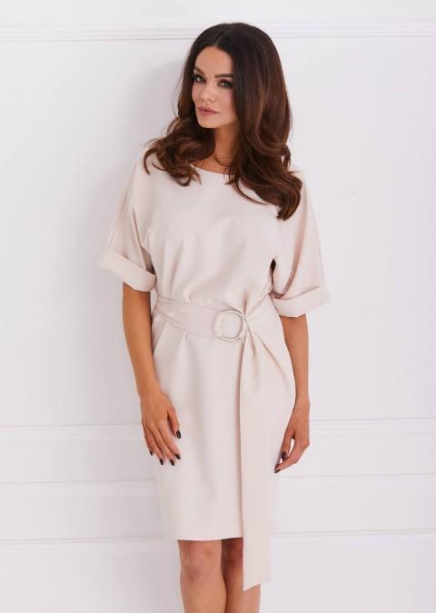 Sukienka COCO efektowne zapięcie odcienie beżowego