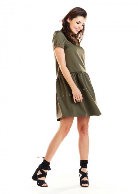 Klasyczna sukienka trapezowa khaki