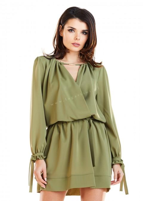 Klasyczna sukienka z długim rękawem khaki