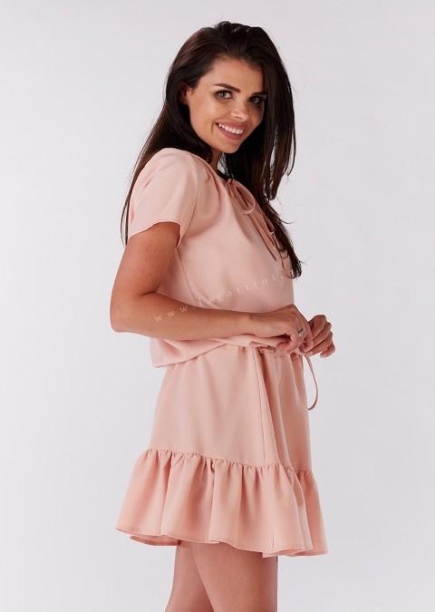 Klasyczna sukienka z krótkim rękawem pudrowy róż