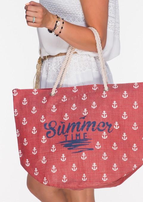 Italy torba plażowa shopper SUMMER czerwona