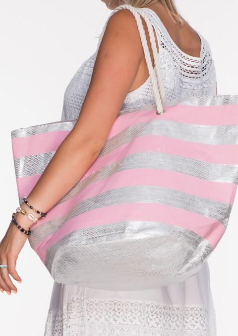 Włoska torba plażowa marine różowo - srebrna