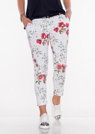 Włoskie spodnie FLOWERS białe