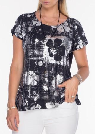 Włoska bluzka aplikacja srebrno - czarna