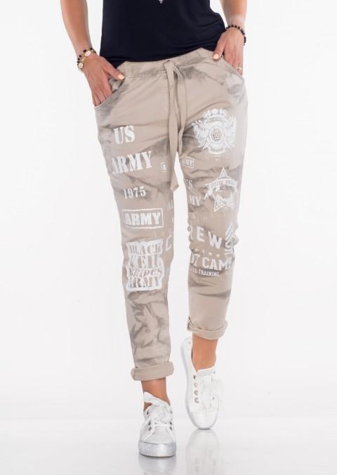 cf18fde79 Włoskie spodnie dresowe ARMY beżowe spodnie