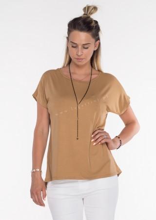 Włoski t-shirt basic NAPY TIGER camel