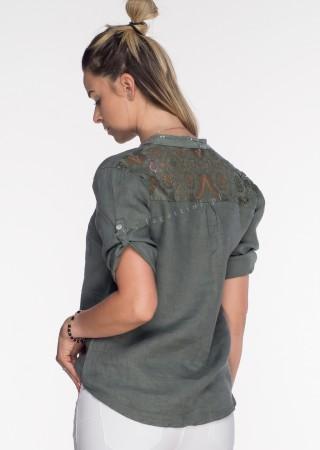 Włoska lniana koszula ZDOBIENIA khaki