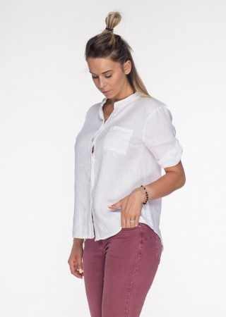 Włoska lniana koszula ZDOBIENIA biała