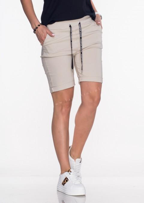 Włoskie spodnie SZNUREK beżowe